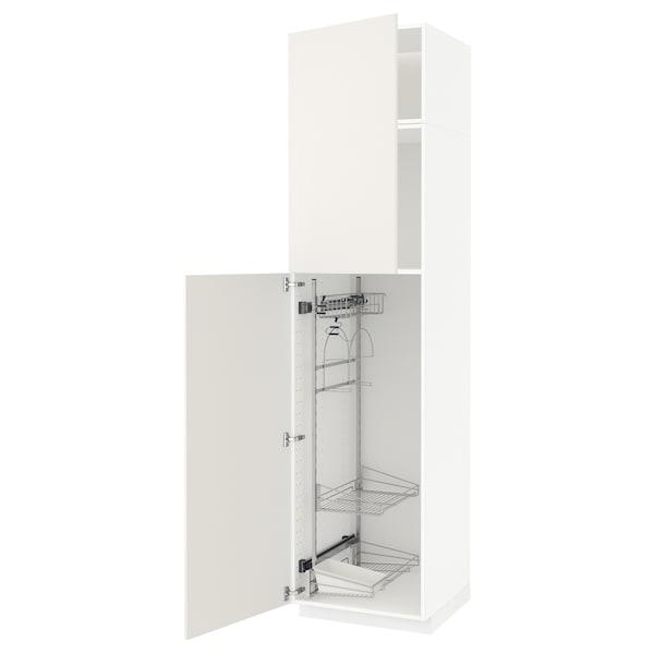 METOD Élément haut + rangements prod entr, blanc/Veddinge blanc, 60x60x240 cm