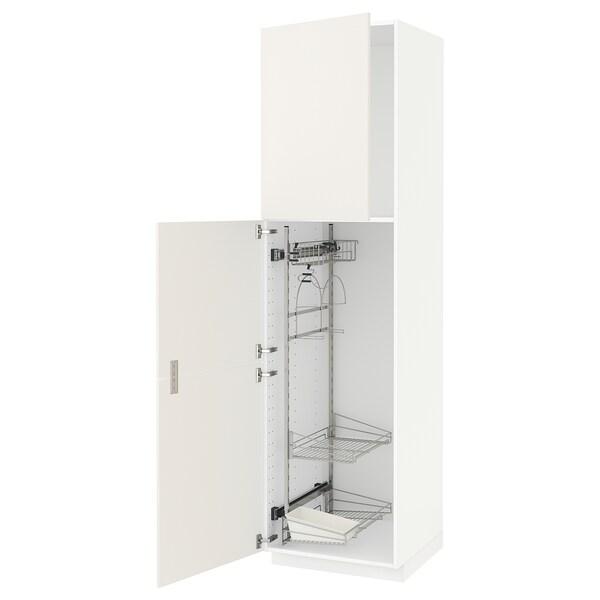 METOD Élément haut + rangements prod entr, blanc/Veddinge blanc, 60x60x220 cm
