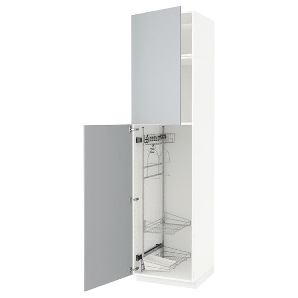 METOD Élément haut + rangements prod entr, blanc/Veddinge gris, 60x60x240 cm