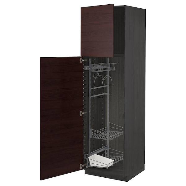 METOD Élément haut + rangements prod entr, noir Askersund/brun foncé décor frêne, 60x60x200 cm
