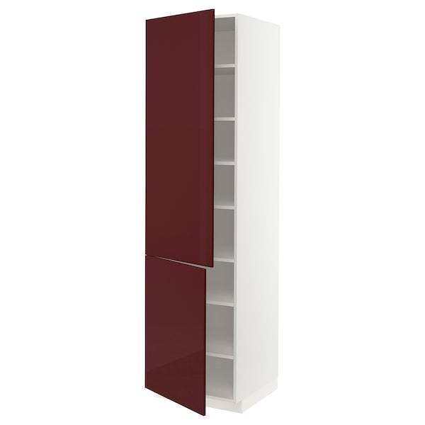 METOD Élément haut tablettes/2portes, blanc Kallarp/brillant brun-rouge foncé, 60x60x220 cm