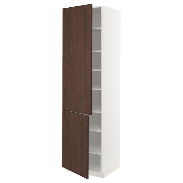 METOD Élément haut tablettes/2portes, blanc/Sinarp brun, 60x60x220 cm