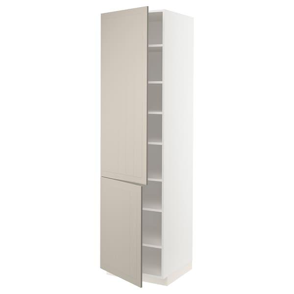 METOD Élément haut tablettes/2portes, blanc/Stensund beige, 60x60x220 cm