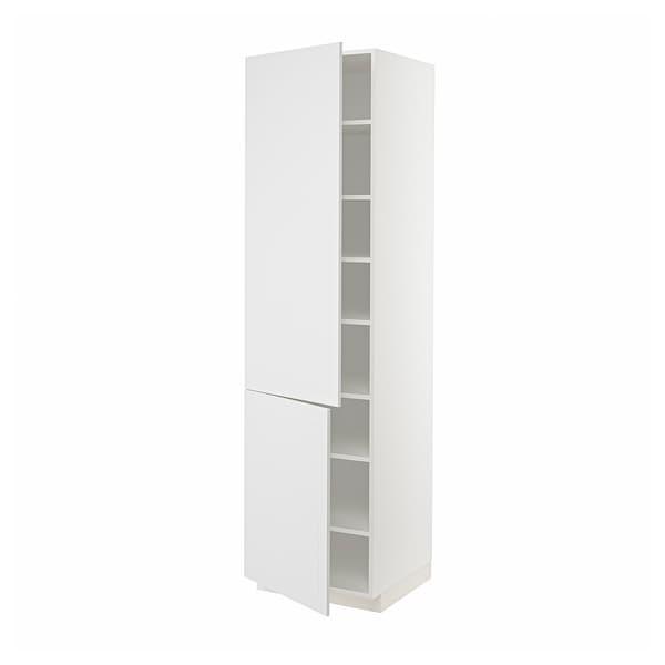 METOD Élément haut tablettes/2portes, blanc/Stensund blanc, 60x60x220 cm