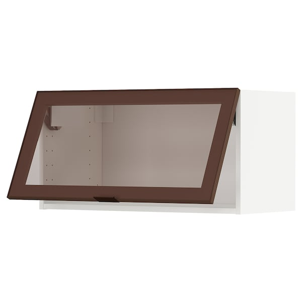 METOD Élément mur horiz pte vit ouv press, blanc/Skövde effet bronze foncé, 80x40 cm