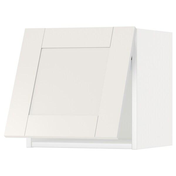 METOD Élément mural horizont av ouv pres, blanc/Sävedal blanc, 40x40 cm