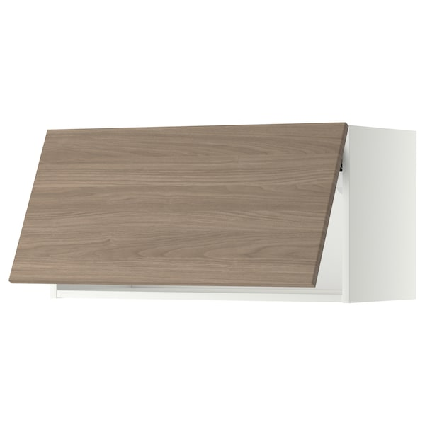 METOD Élément mural horizontal, blanc/Brokhult gris clair, 80x40 cm