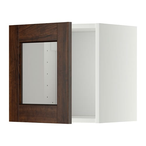 metod l ment mural porte vitr e blanc edserum effet bois brun ikea. Black Bedroom Furniture Sets. Home Design Ideas