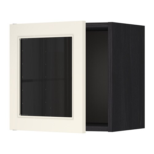 metod l ment mural porte vitr e effet bois noir hittarp blanc cass ikea. Black Bedroom Furniture Sets. Home Design Ideas