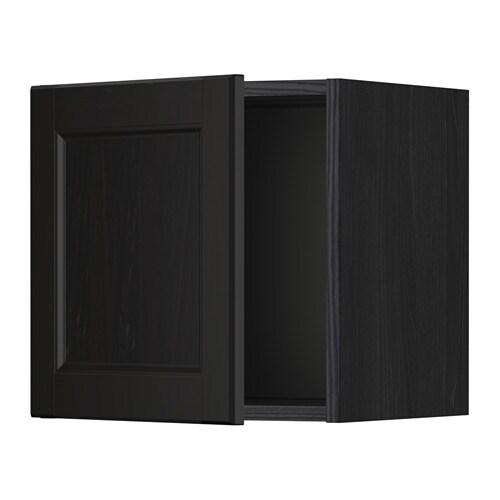 Metod l ment mural porte vitr e effet bois noir for Porte essuie tout mural ikea