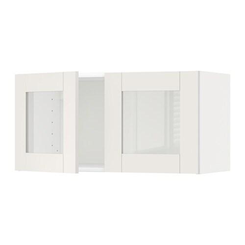 metod l ment mural 2 portes vitr es blanc s vedal blanc ikea. Black Bedroom Furniture Sets. Home Design Ideas