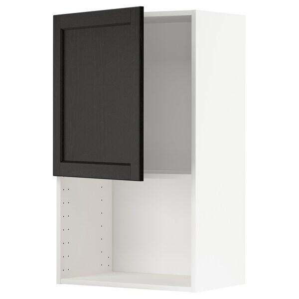 METOD Élément mural pour micro-ondes, blanc/Lerhyttan teinté noir, 60x100 cm