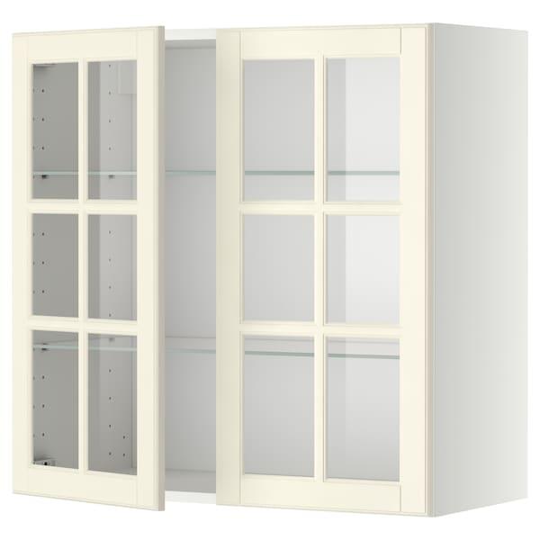 METOD Élément mural+tablettes/2ptes vitr, blanc/Bodbyn blanc cassé, 80x80 cm