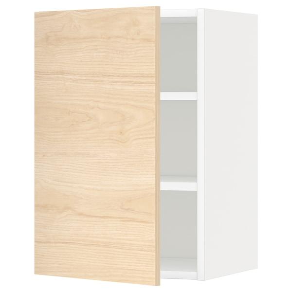 METOD Élément mural + tablettes, blanc/Askersund effet frêne clair, 40x60 cm