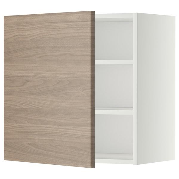 METOD Élément mural + tablettes, blanc/Brokhult gris clair, 60x60 cm