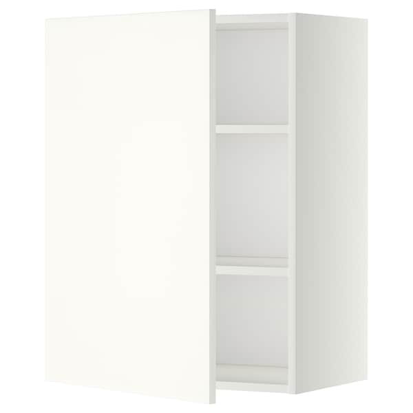 METOD Élément mural + tablettes, blanc/Häggeby blanc, 60x80 cm
