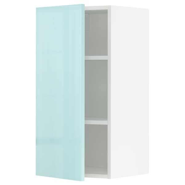 METOD Élément mural + tablettes, blanc Järsta/brillant turquoise clair, 40x80 cm