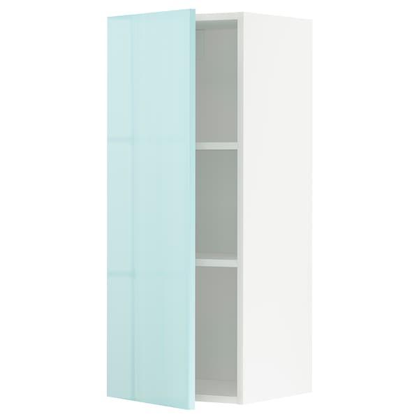 METOD Élément mural + tablettes, blanc Järsta/brillant turquoise clair, 40x100 cm