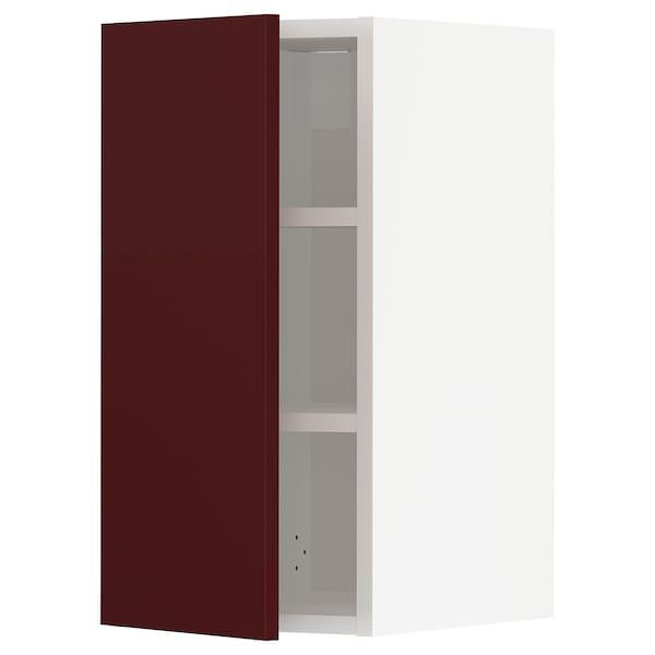 METOD Élément mural + tablettes, blanc Kallarp/brillant brun-rouge foncé, 30x60 cm