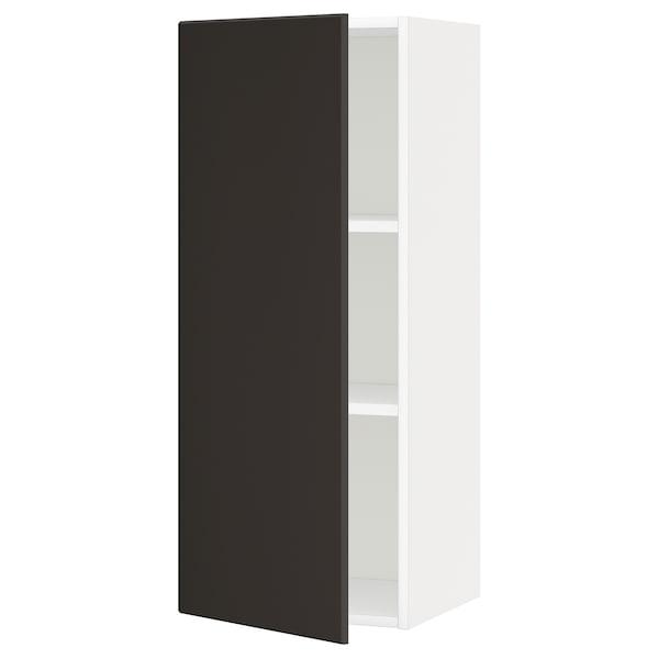 METOD Élément mural + tablettes, blanc/Kungsbacka anthracite, 40x100 cm