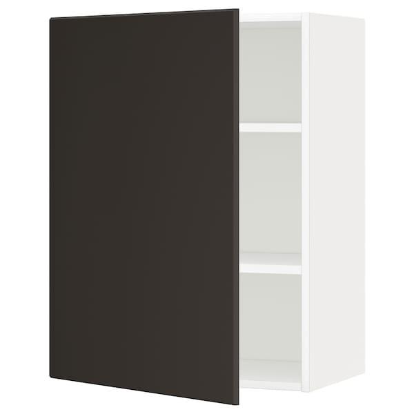 METOD Élément mural + tablettes, blanc/Kungsbacka anthracite, 60x80 cm