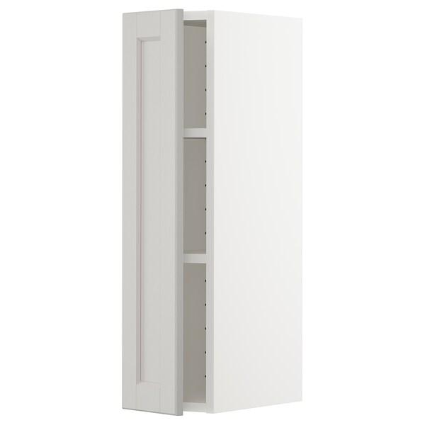 METOD Élément mural + tablettes, blanc/Lerhyttan gris clair, 20x80 cm