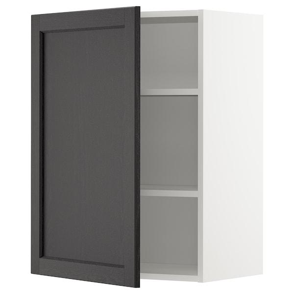 METOD Élément mural + tablettes, blanc/Lerhyttan teinté noir, 60x80 cm