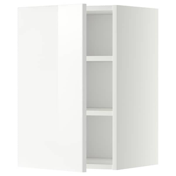 METOD Élément mural + tablettes, blanc/Ringhult blanc, 40x60 cm