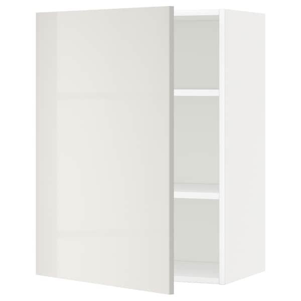 METOD Élément mural + tablettes, blanc/Ringhult gris clair, 60x80 cm