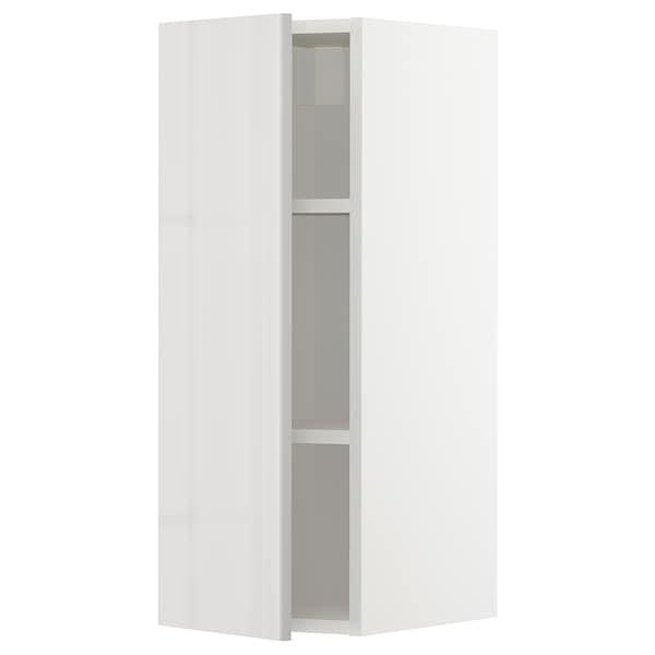 METOD Élément mural + tablettes, blanc/Ringhult gris clair, 30x80 cm