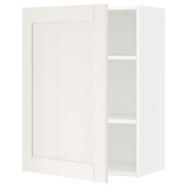 METOD Élément mural + tablettes, blanc/Sävedal blanc, 60x80 cm