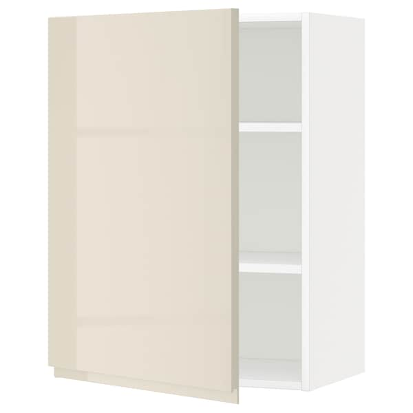 METOD Élément mural + tablettes, blanc/Voxtorp beige clair brillant, 60x80 cm