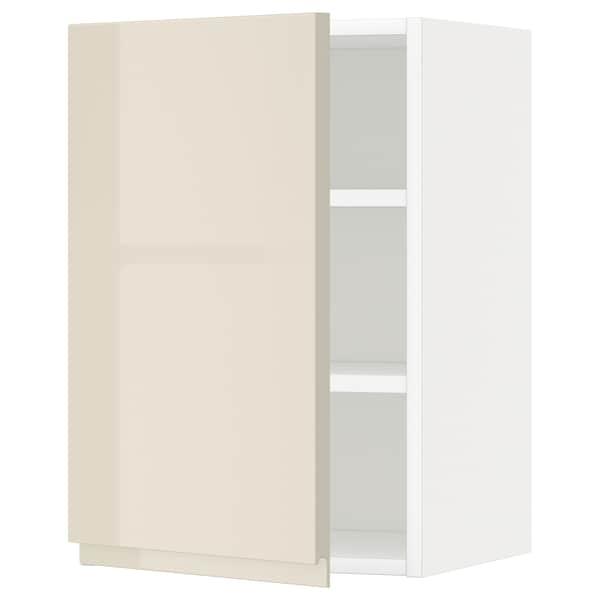 METOD Élément mural + tablettes, blanc/Voxtorp beige clair brillant, 40x60 cm