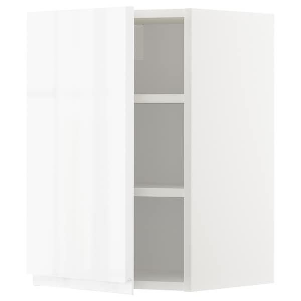 METOD Élément mural + tablettes, blanc/Voxtorp brillant/blanc, 40x60 cm