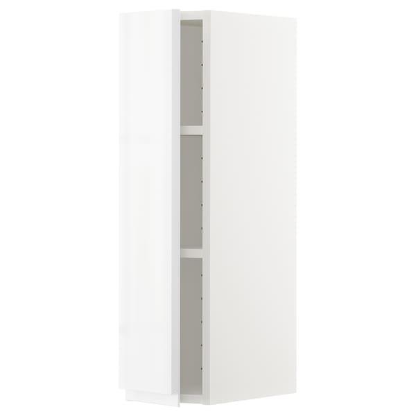 METOD Élément mural + tablettes, blanc/Voxtorp brillant/blanc, 20x80 cm