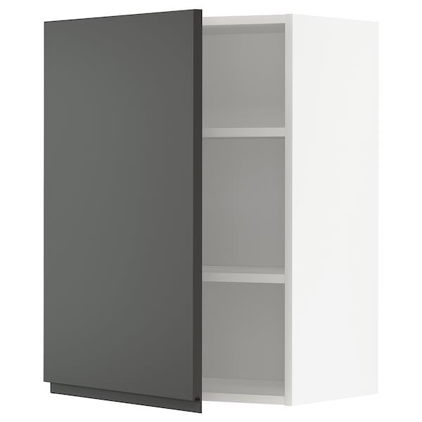 METOD Élément mural + tablettes, blanc/Voxtorp gris foncé, 60x80 cm