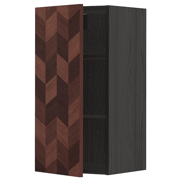 METOD Élément mural + tablettes, noir Hasslarp/brun à motifs, 40x80 cm