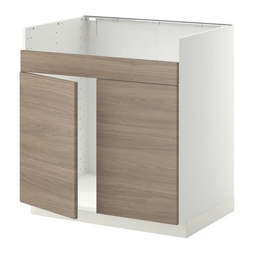 metod l ment pour vier domsj 2 bacs blanc brokhult motif noyer gris clair ikea. Black Bedroom Furniture Sets. Home Design Ideas