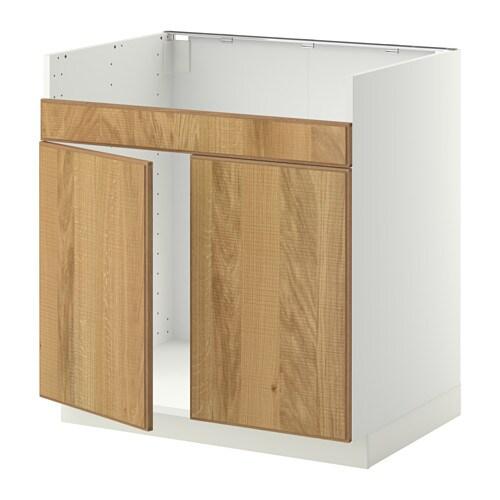 metod l ment pour vier domsj 2 bacs blanc hyttan plaqu ch ne ikea. Black Bedroom Furniture Sets. Home Design Ideas