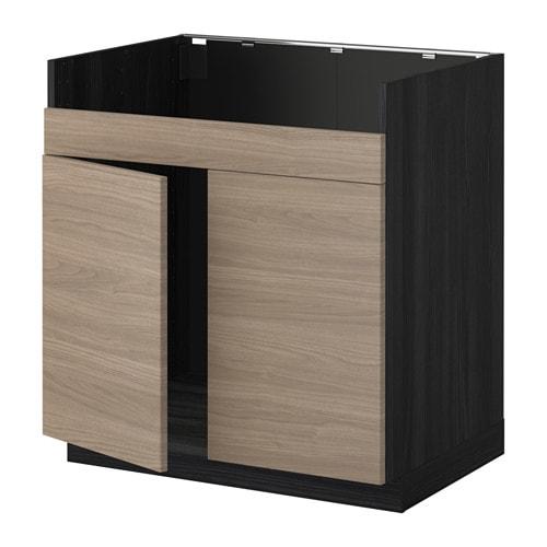 metod l ment pour vier domsj 2 bacs effet bois noir brokhult motif noyer gris clair ikea. Black Bedroom Furniture Sets. Home Design Ideas