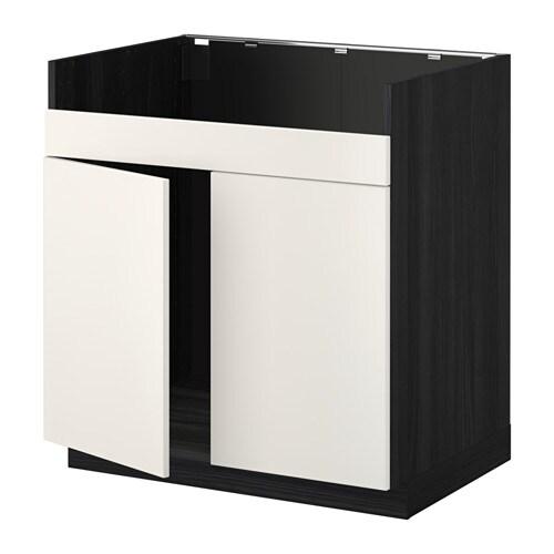 metod l ment pour vier domsj 2 bacs effet bois noir veddinge blanc ikea. Black Bedroom Furniture Sets. Home Design Ideas