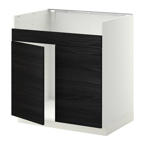 metod l ment pour vier domsj 2 bacs blanc tingsryd effet bois noir ikea. Black Bedroom Furniture Sets. Home Design Ideas