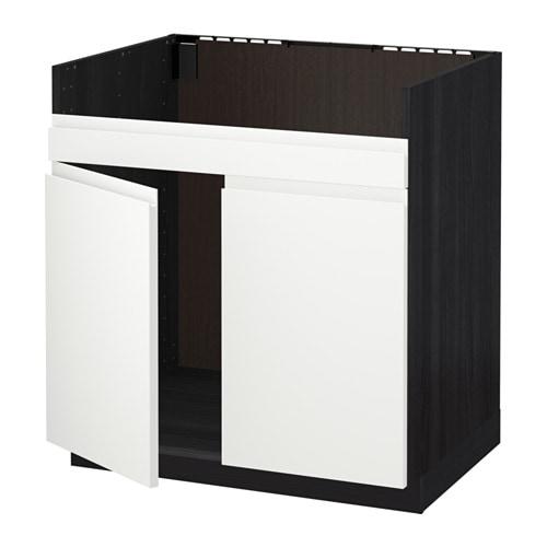 metod l ment pour vier domsj 2 bacs effet bois noir voxtorp blanc ikea. Black Bedroom Furniture Sets. Home Design Ideas