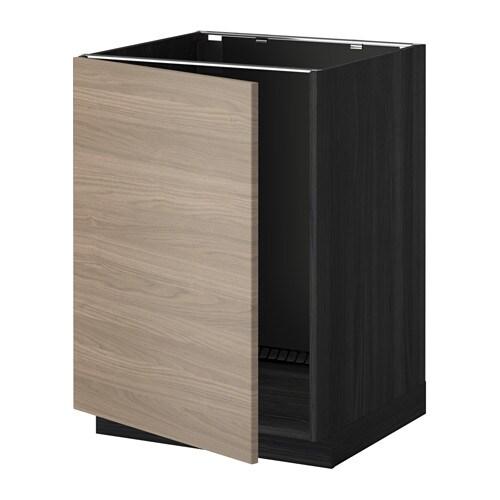 Metod lt bas vier effet bois noir brokhult motif for Ikea retourne la livraison