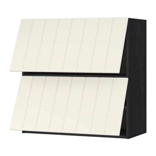 Metod lt mur horiz 2ptes effet bois noir hittarp blanc - Mur blanc casse ...