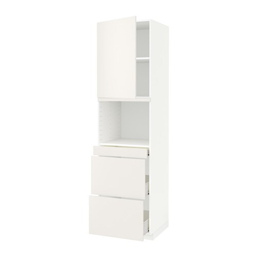 metod f rvara armoire micro ondes av porte 3 tir blanc veddinge blanc 60x60x220 cm ikea. Black Bedroom Furniture Sets. Home Design Ideas