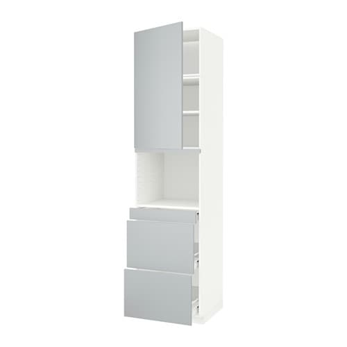 metod f rvara armoire micro ondes av porte 3 tir blanc veddinge gris 60x60x240 cm ikea. Black Bedroom Furniture Sets. Home Design Ideas