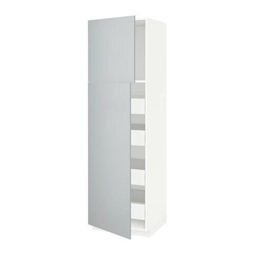 metod f rvara armoire 2 portes 4 tiroirs blanc veddinge gris 60x60x200 cm ikea. Black Bedroom Furniture Sets. Home Design Ideas