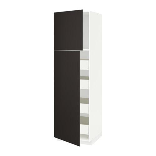 metod f rvara armoire 2 portes 4 tiroirs blanc kungsbacka anthracite 60x60x200 cm ikea. Black Bedroom Furniture Sets. Home Design Ideas