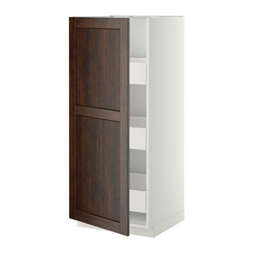metod f rvara l ment armoire avec tiroirs blanc edserum effet bois brun ikea. Black Bedroom Furniture Sets. Home Design Ideas